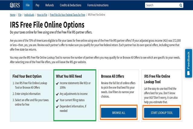 IRS Free File Partnersの利用方法